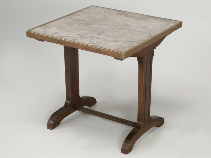 Antique French Bistro Table with Marble Top Angled View