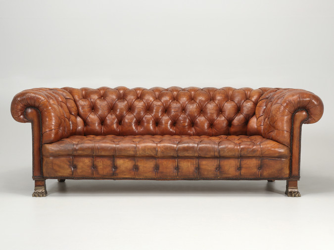 Antique French Leather Chesterfield Sofa Front