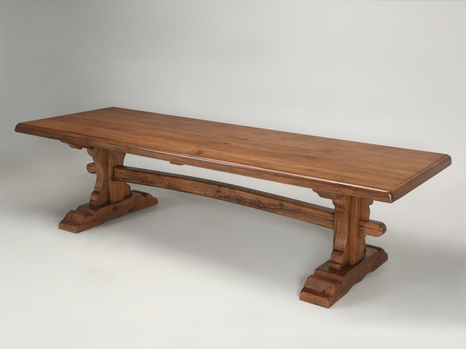 Country French Inspired Oak Trestle Table Angled Front