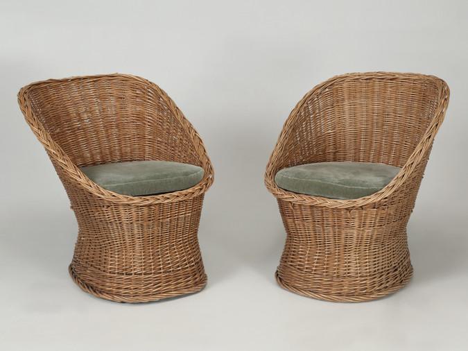 Woven Rattan Wicker Barrel Chairs Pair Main