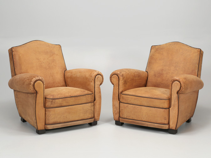 French Club Chairs Restored Internally Pair