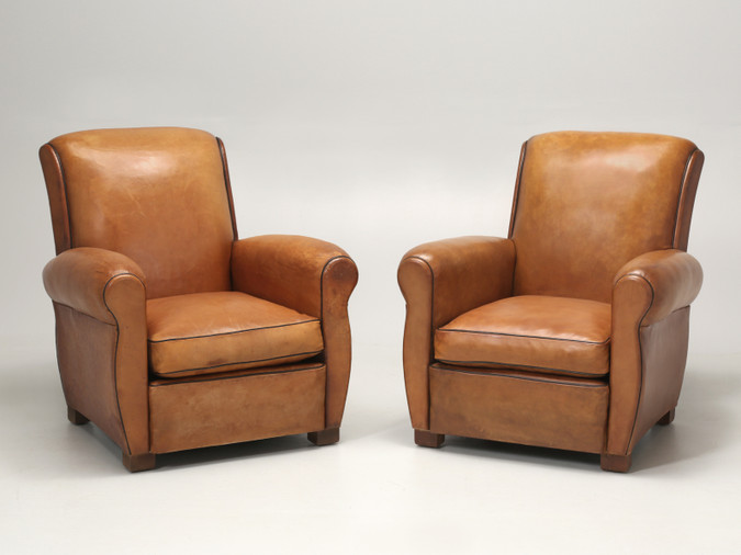 Fully Restored French Leather Club Chairs Pair