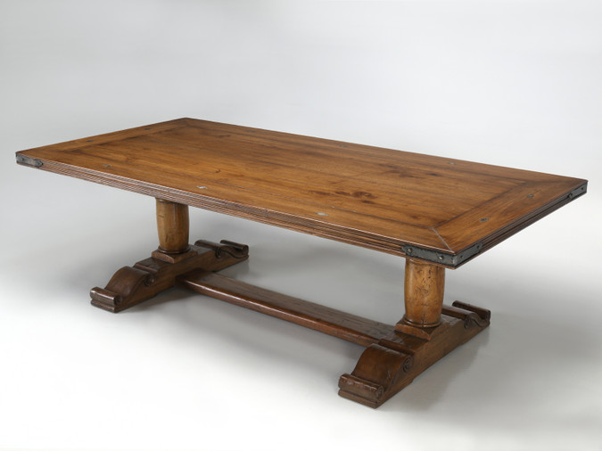 French Inspired Reclaimed Walnut Trestle Table Angled View