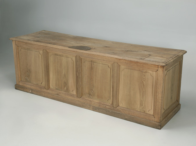 Antique Country French White Oak Kitchen Island Angled Front