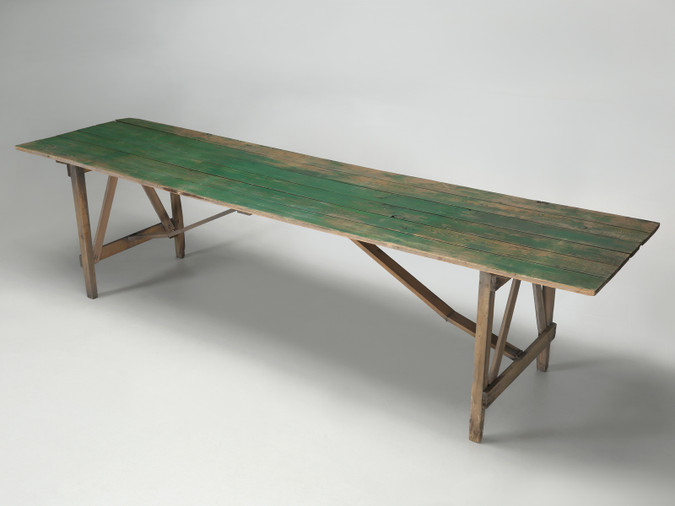 Antique Wisconsin Farm Table in Original Paint Angled Front