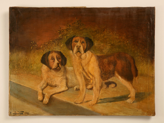 """Original """"Going to the Dogs"""" Oil on Canvas"""