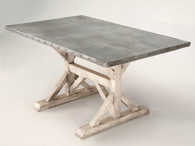 Zinc Top Table with Painted Base Main