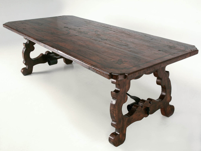 Custom Oak and Steel Catalan Style Dining Table Main