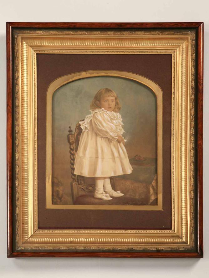 Antique American Victorian Painted Portrait