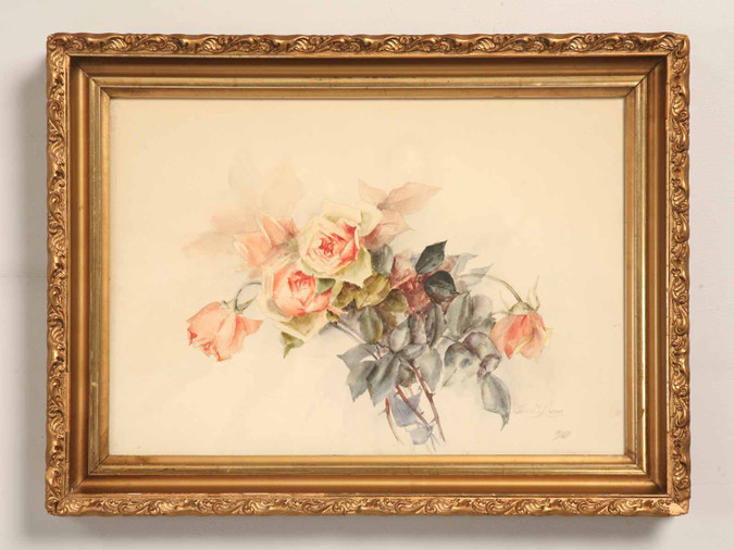 Jennie S. Mather Pink Roses Watercolor