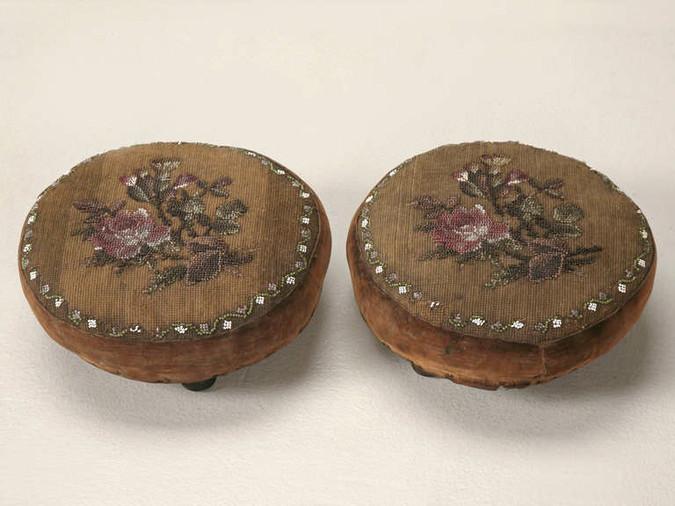 Pair of Antique English Ladies Footstools