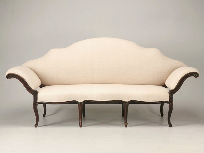 Italian Venetian Carved Sofa with Silk Linen Front