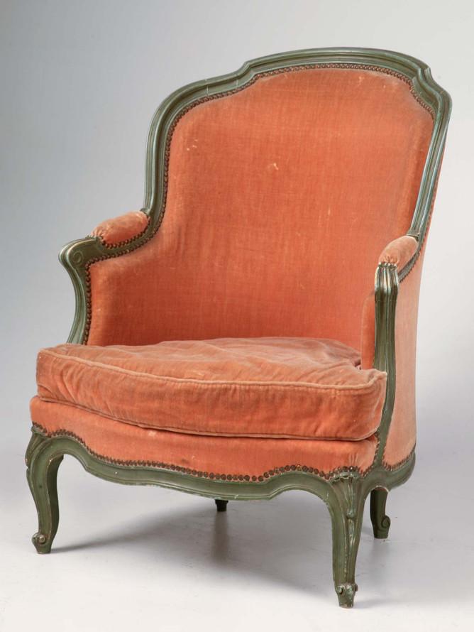 Antique French Louis XV 'Pumpkin' Bergere w/Barrel Back & Mohair Front