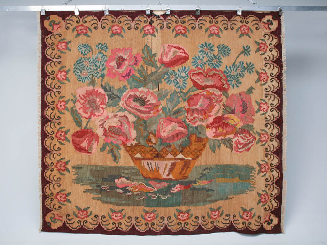 Vintage Hand Made Floral Rug