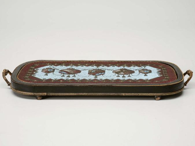 Antique English Hand Beaded Tray