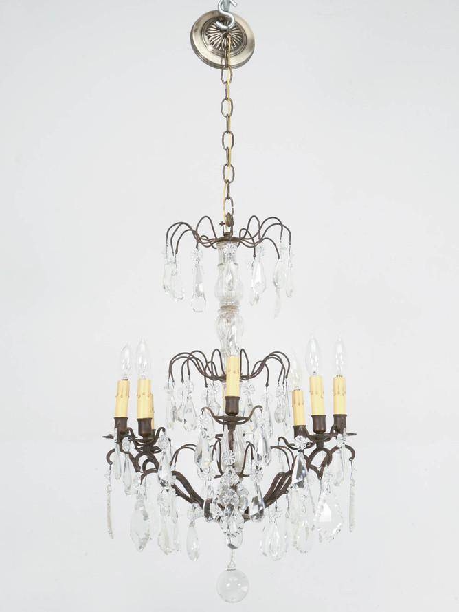 Vintage French Crystal 8 Light Chandelier