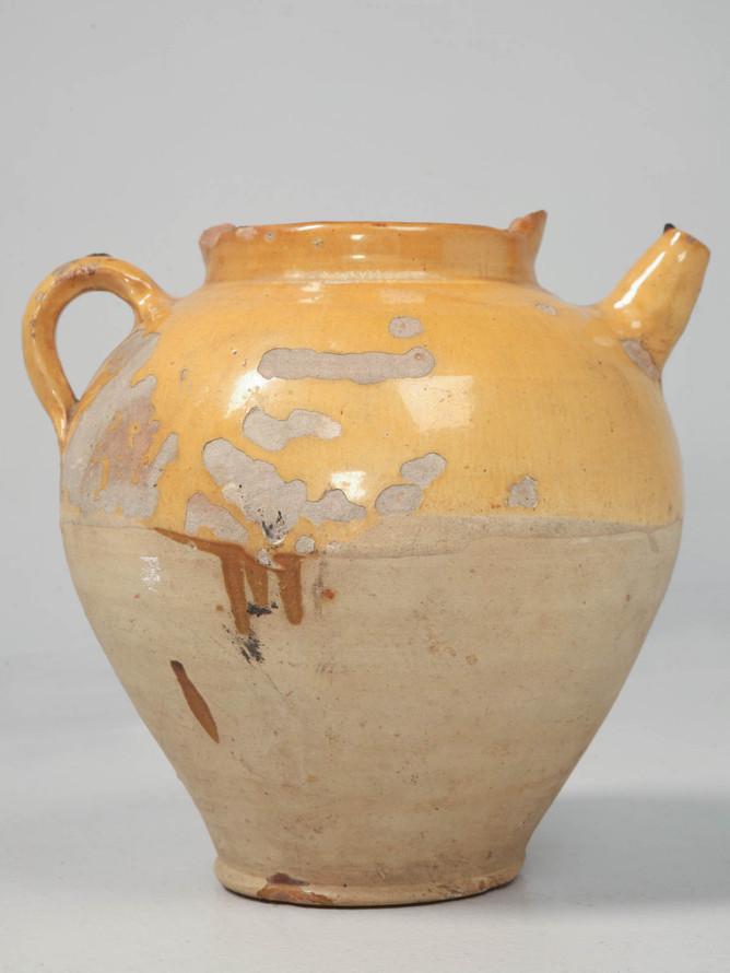 Original Antique French Water Jug Yellow Glaze