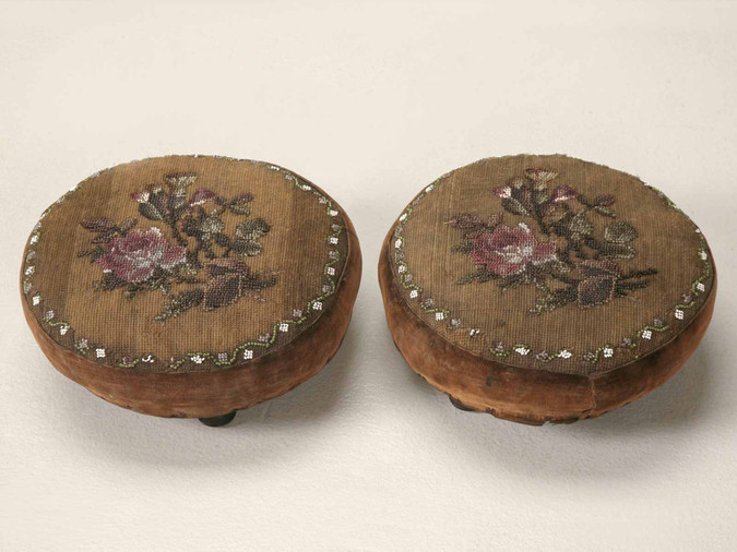 Pair of Antique English Beaded Footstools