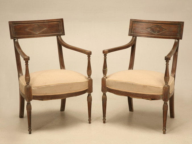 French Directoire Style Armchairs, circa 1860 Pair Front