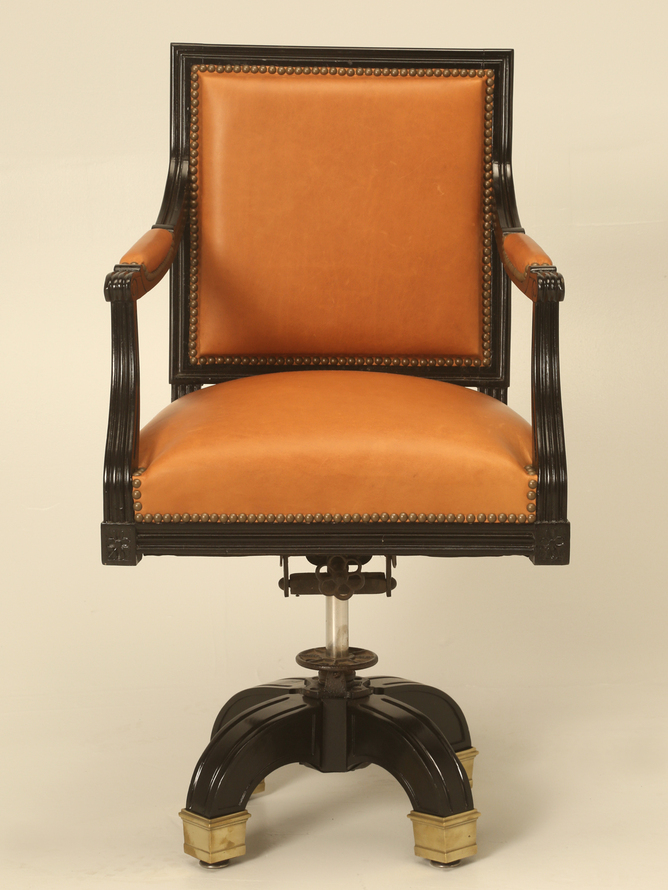French Louis XVI Ebony Desk Chair Saddle Leather