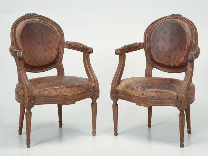 French Louis XVI Armchairs Original Leather Pair Front