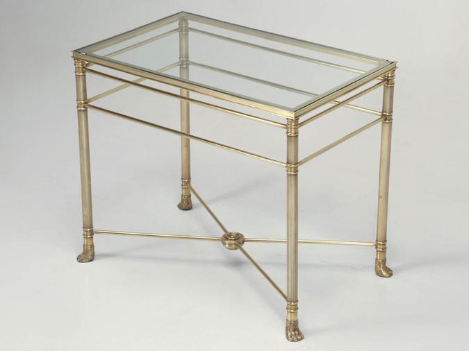 Mid-Century Modern Brass End Table w/ Paw Feet