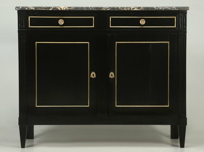 Antique French Louis XVI Style Buffet in an Ebonized Finish Front