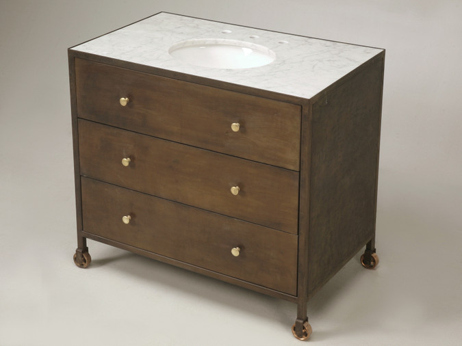 Custom Built Steel Commode with Marble Top