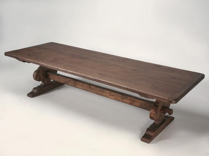 Italian Trestle Dining Table from Reclaimed Wood Main
