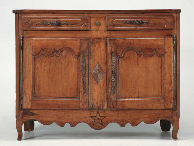 Country French Antique Buffet w/ Diamond Motif Front
