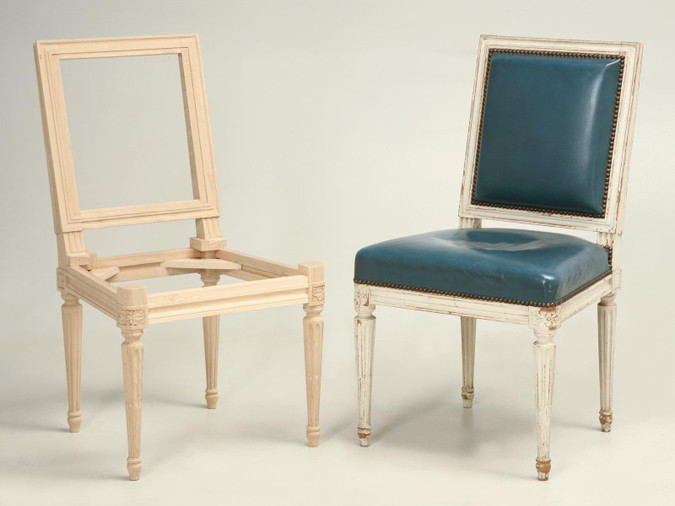 French Louis XVI Side Chairs Frame and Finished Chair