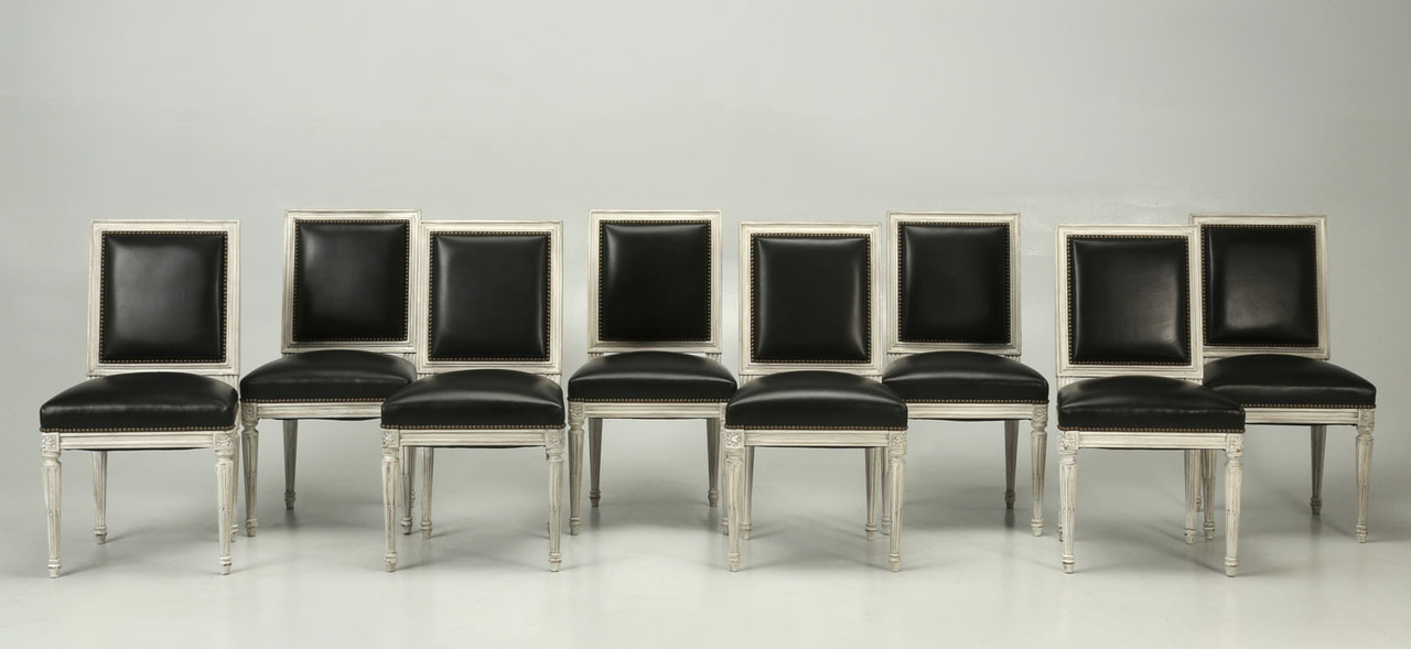 Set of 8 Black Leather Louis XVI Side Chairs