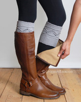 Cable Knit Boot Cuffs - Light Gray