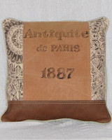 1887 Canvas and Leather Throw Pillow