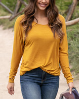 Grace and Lace Easy Slub Lounge Top - Mustard (MADE IN USA)