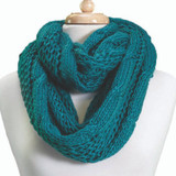 Tickled Pink Knit Winter Infinity Scarf - FIN222 - Teal