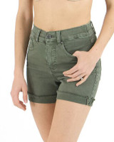 Grace and Lace Colored Zip Up Midi Shorts - Olive