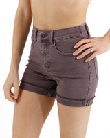 Grace and Lace Colored Zip Up Midi Shorts - Dusty Plum