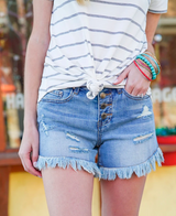 Grace and Lace Girlfriend Button Fly Shorts - Vintage Midwash