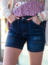 Grace and Lace Patch Pocket Waist Shaper Shorts - Dark Wash
