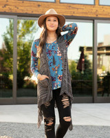 Grace and Lace Pointelle Duster Flip Cardi - Heathered Black