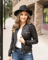 Grace and Lace Leather Look Biker Jacket