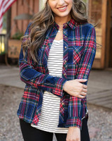 Grace and Lace Stretch-Flex Flannel Plaid Shirt - Dakota Plaid