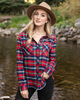 Grace and Lace Stretch-Flex Flannel Plaid Shirt - Norwegian Pines Plaid