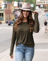 Grace and Lace Easy Slub Lounge Top - Olive (MADE IN USA)