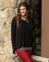 Grace and Lace Easy Slub Lounge Top - Black (MADE IN USA)
