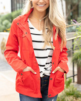 Grace and Lace Rain Jacket - Hot Red