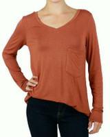 Grace and Lace Long Sleeve Perfect Pocket Tee - Cider