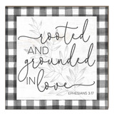 10x10 Rooted and Grounded in Love Buffalo Check Sign