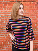 Chris & Carol Striped Bell Mid-Sleeve Ribbed Top
